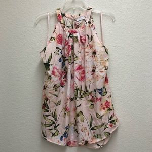 NY&Co. Pink Slight High Low Floral Halter Blouse